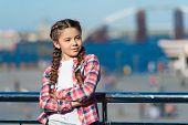 What Do On Holidays. Sunny Day Walk. Leisure Options. Free Time And Leisure. Girl Cute Kid With Brai poster