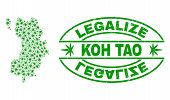Vector Cannabis Koh Tao Map Mosaic And Grunge Textured Legalize Stamp Seal. Concept With Green Weed  poster