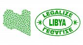 Vector Cannabis Libya Map Mosaic And Grunge Textured Legalize Stamp Seal. Concept With Green Weed Le poster
