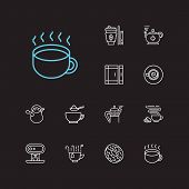 Coffee Icons Set. Takeaway Tea And Coffee Icons With Sugar Sachet, Cookie And Herbal Tea. Set Of Fre poster