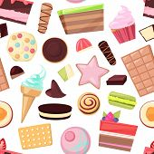 Confectionery Sweets Vector Chocolate Candies And Sweet Confection Dessert In Candyshop Illustration poster