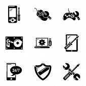 Personal Computer Icons Set. Simple Set Of 9 Personal Computer Icons For Web Isolated On White Backg poster