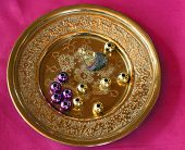 Brass Plate With Assorted Beads