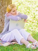 Minute For Dream. Technology And Internet Concept. Dream About New Job Or Relocation. Girl Laptop Dr poster