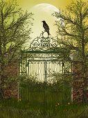 stock photo of raven  - fantasy landscape with gateway and old raven - JPG