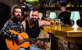 Real Men Leisure. Man Play Guitar In Bar. Cheerful Friends Relax With Guitar Music. Friday Relaxatio poster