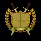 Heraldry..shield, sword, banner, laurel