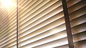Blinds, Evening Sun Light Outside Wooden Window Blinds, Sunshine And Shadow On Window Blind, Decorat poster