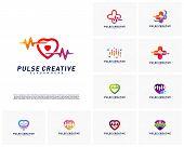 Set Of Love Medical Pulse Logo Design Concept.healthcare Pulse Logo Template Vector. Icon Symbol poster