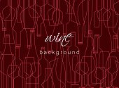 Horizontal Background With Wine Bottles And Glasses. Design Element For Tasting, Menu, Wine List, Re poster