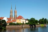 Wroclaw With Odra River And Cathedral