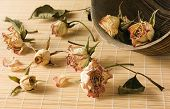 Dried Rosebuds Scattered From Wooden Bowl