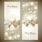 Greeting cards with white bows and copy space. Vector illustration