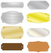 Set of 8 different house or trophy nameplates with metal and wood structure. All vector parts are is