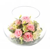 image of flower arrangement  - A glass bowl full with pink and white roses - JPG