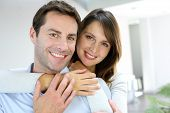 stock photo of 35 to 40 year olds  - Portrait of married couple at home - JPG