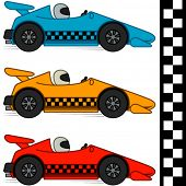 Vector conceptual cartoon racing cars in three different colors. Finishing line included. Isolated on white. EPS8. No gradients.