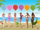 Beautiful cartoon girls on tropical beach with blue ocean