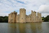 BODIAM, ENGLAND - AUGUST 20: The 14th century Bodiam Castle on August 20, 2012 at Bodiam, East Sussex. The moated castle was built in 1385 by Sir Edward Dalyngrigge.