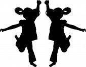 Vector Silhouette of girls jumping up in the air