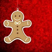 image of ginger man  - Christmas background with gingerbread man - JPG