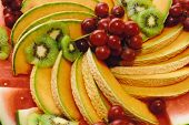 image of fruit platter  - a colorful mouthwatering fruit plate is displayed - JPG