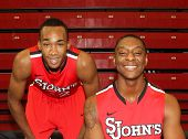 NEW YORK-OCT. 23: St. John's Red Storm guard/forward Amir Garrett (L) and forward Christian Jones during media day on October 23, 2012 at Carnesecca Arena, Jamaica, Queens, New York.