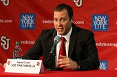NEW YORK-OCT. 23: St. John's Red Storm head coach Joe Tartamella speaks to the media on October 23,