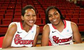 NEW YORK-OCT. 23: St. John's Red Storm guard Briana Brown (L) and forward Mary Nwachukwu during media day on October 23, 2012 at Carnesecca Arena, Jamaica, Queens, New York.