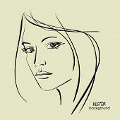 art sketching vector beautiful girl face symbols