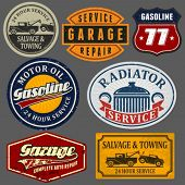 stock photo of gasoline station  - Vintage automotive labels and signs set - JPG