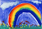 Child's drawing watercolor. Landscape with rainbow