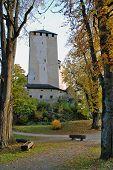 Autumn View Of Gardens And Tower  At Scloss Bruck  Lienz Austria