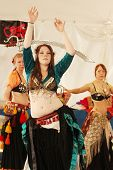 TULSA, OK - OCT 20: A member of Gypsy Fire Belly Dancers group performs a dance with a sword at Oktoberfest in TULSA, OK, on October 20, 2012 in TULSA, OK.