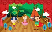 illustration of kids on a stage and a beautiful background