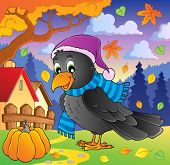 Cartoon raven theme image 2 - vector illustration.