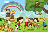 picture of mating animal  - illustration of animals and kids in a beautiful nature - JPG