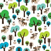 Seamless cute kids retro farm animal tree background pattern in vector