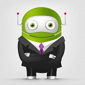 Cartoon Character Cute Robot Isolated on Grey Gradient Background. Businessmen Cross Hands. Vector EPS 10.