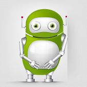 Cartoon Character Cute Robot Isolated on Grey Gradient Background. Wall. Vector EPS 10.