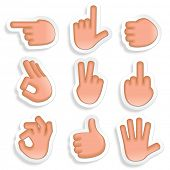 Paper Stickers with Hand Signs. Vector Icon Set 2.