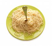 Spaghetti And Fork In Green Plate poster
