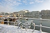 Snowy Amsterdam at the Amstel in the Netherlands