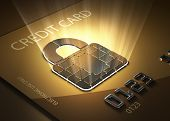 stock photo of plastic money  - Credit card and lock shaped contact point  - JPG