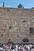 JERUSALEM - OCT 16: The Holy Western Wall of the Temple. Thousands of Jews had gathered for morning