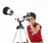 Boy Stargazing With His Professional Telescope