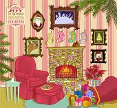 Santa's Living Room - Detailed, hand drawn: Cheerful living room with fireplace, armchair, footstool