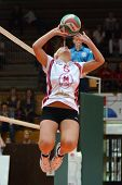 KAPOSVAR, HUNGARY - OCTOBER 7: Zsofia Horvath in action at the Hungarian I. League volleyball game K