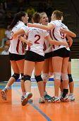 KAPOSVAR, HUNGARY - OCTOBER 7: Kaposvar players celebrate at the Hungarian I. League volleyball game
