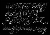stock photo of cursive  - Vector free hand calligraphic alphabet - JPG